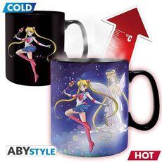 Duży kubek zmieniający kolor Czarodziejka z Księżyca - Sailor Moon & Chibi (460 ml)