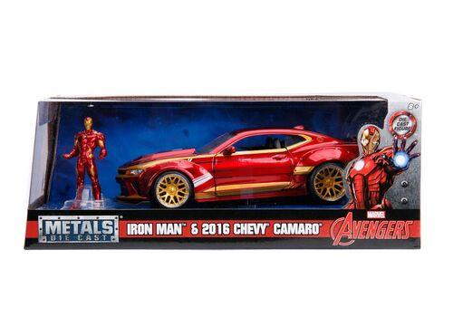 Model samochodu Marvel Diecast 1/24 2016 Chevrolet Camaro (Wraz z figurką Iron Man)