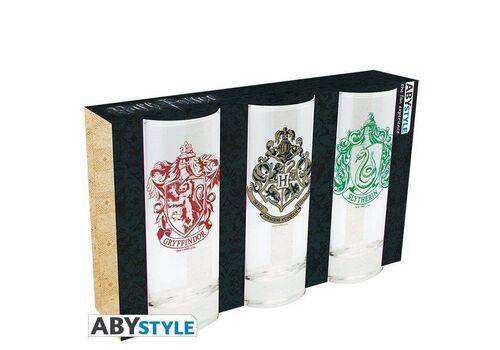 Szklanki Harry Potter - Hogwart, Gryffindor, Slytherin (zestaw)